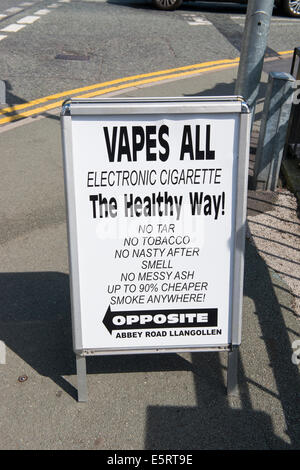 A sign advertising electronic cigarettes in Llangollen, Wales. - Stock Photo