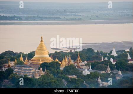 Shwezigon, Pagan, Burma, from balloon. - Stock Photo