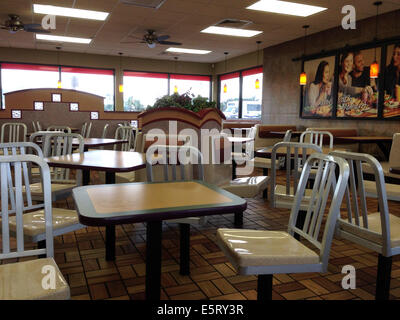 An empty fast food restaurant - Stock Photo