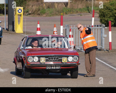 Audi 100 Coupe S, build in 1977, Dutch licence registration 00-48-RP, at IJmuiden, The Netherlands, pic2 - Stock Photo