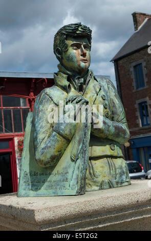 bronze statue of francois rene de chateaubriand, dol de bretagne, brittany, france - Stock Photo