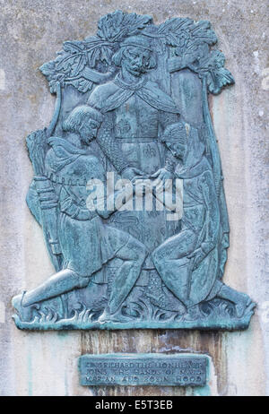 Editorial images of the relief images of the legend of Robin Hood found on the walls of Nottingham Castle in the - Stock Photo