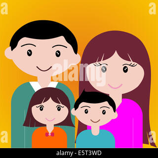 Four member of happy family portrait together. - Stock Photo