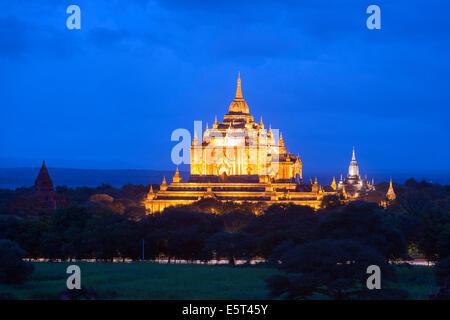 South East Asia, Myanmar, Bagan, Thatbyinnyu Pahto temple - Stock Photo