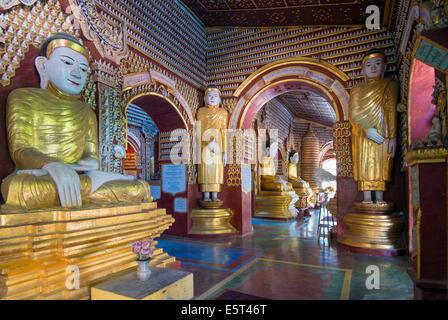 South East Asia, Myanmar, Monywa, Thanboddhay Paya temple, buddha statues - Stock Photo