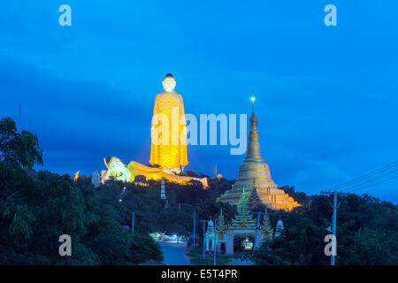South East Asia, Myanmar, Monywa, Bodhi Tataung, largest buddha statue in the world - Stock Photo