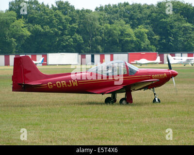 G-ORJW Laverda F8L Falco IV , takeoff from Hilversum Airport (ICAO EHHV), photo3 - Stock Photo