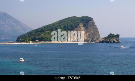Island of Sveti Nikola on the Adriatic Sea, in front of the coast of Budva, Montenegro. - Stock Photo