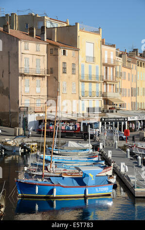 Wooden Fishing Boats in Old Port or Harbor Saint Tropez Var Provence - Stock Photo