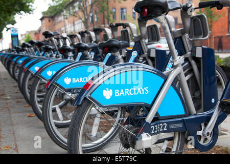 2014 - A row of Barclays Bicycles for hire in central London - Stock Photo