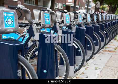 A row of Barclays Bicycles for hire in central London - Stock Photo