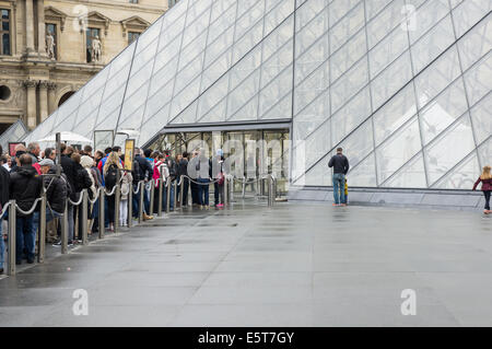 Visitors and tourists queue at the entrance of Louvre Museum Paris, France - Stock Photo