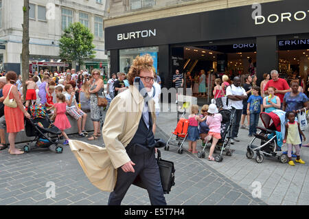 human statue street performer in liverpool, uk - Stock Photo