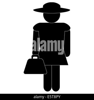 black silhouette of a woman isolated on white background, vector - Stock Photo