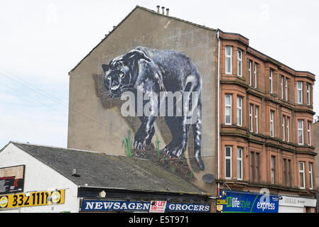 Mural art on gable end in leith tenements stock photo for Black panther mural
