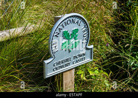 National Trust sign at the Cherhill White Horse and Oldbury Castle near Calne Wiltshire England UK. JMH6248 - Stock Photo