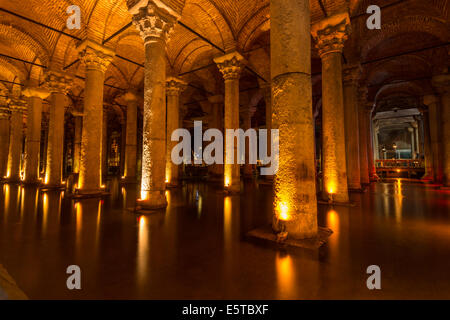 Endless rows of columns at the Basilica Cistern in Istanbul, Turkey. - Stock Photo