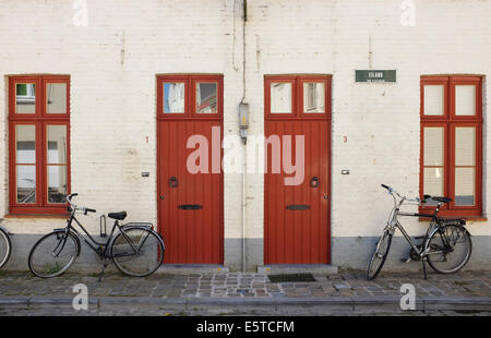 Symmetry in Bruges old town, Belgium - Stock Photo