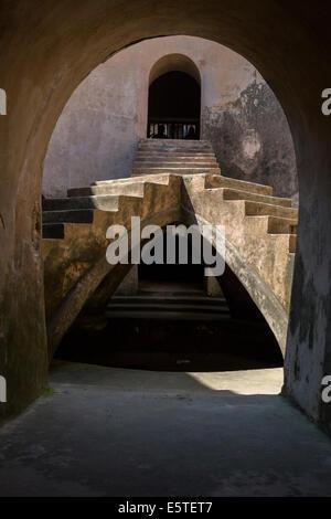 Yogyakarta, Java, Indonesia.  Stairway in the Underground Mosque, part of the Taman Sari (Water Palace) Complex. - Stock Photo