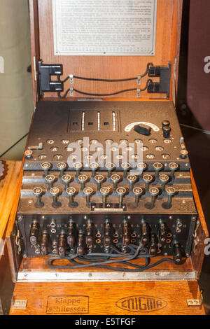 England, Buckinghamshire, Bletchley, Bletchley Park, German Enigma Machine - Stock Photo