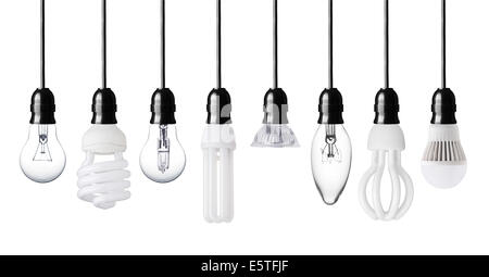 Set of different light bulbs isolated on white - Stock Photo