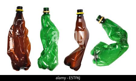 Used plastic bottles isolated on white - Stock Photo
