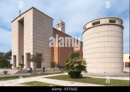 Church with tower, 1935, monumental architecture, Sabaudia, Lazio, Italy - Stock Photo