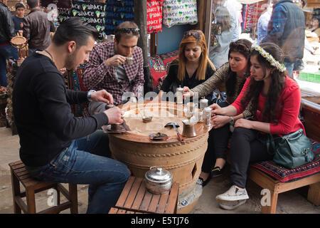 Traditional Turkish coffee café Şirince Turkey - Stock Photo