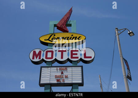 Lorraine Motel sign in Memphis, with 'I have a dream' written on it, site of Martin Luther King's assassination.