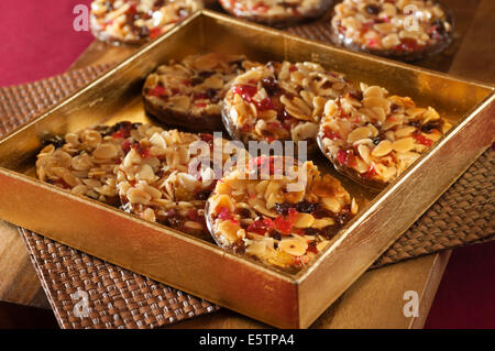 Florentines. Almond and chocolate biscuits. - Stock Photo