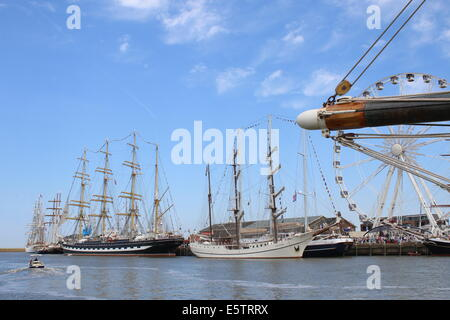 Tall ships Kruzenshtern and Artemis  at the July 2014 Tall Ship Races in Harlingen, The Netherlands - Stock Photo