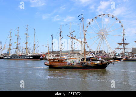 Various tall ships and sailing boats at the July 2014 Tall Ship Races in Harlingen, Netherlands - Stock Photo