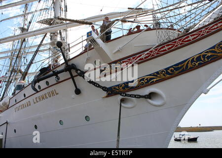 Bow and front hull of Norwegian sailing ship Statsraad Lehmkuhl at the July 2014 Tall Ship Races in Harlingen, The - Stock Photo