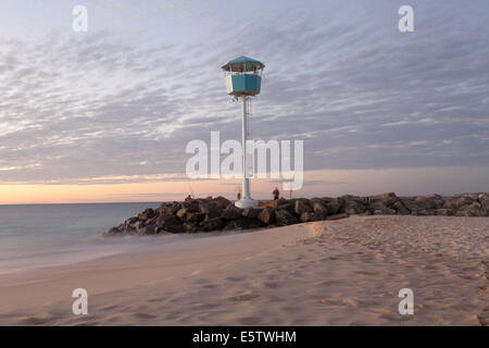 Lifegaurd lookout on  City Beach in Perth during Sunset - Stock Photo