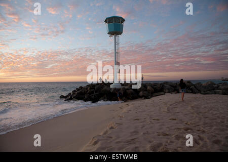 View of the Lifegaurd lookout on  City Beach in Perth during Sunset - Stock Photo