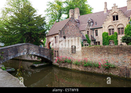 Houses along the canals of  Bruges, Belgium - Stock Photo