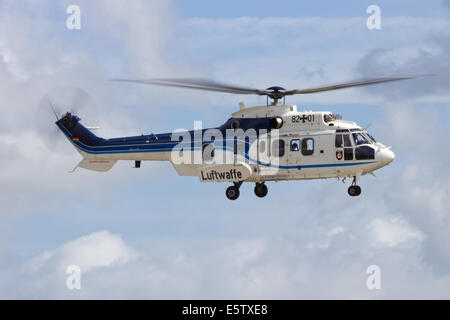German Air Force Eurocopter AS-532 Cougar helicopter flying. - Stock Photo