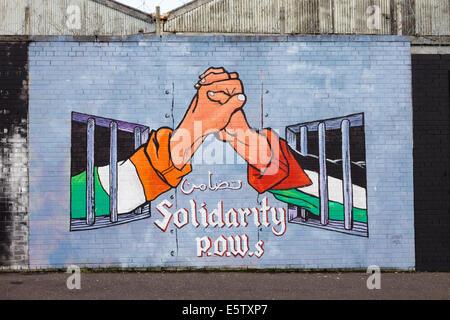 Political mural in Belfast, Northern Ireland. Falls Road. - Stock Photo