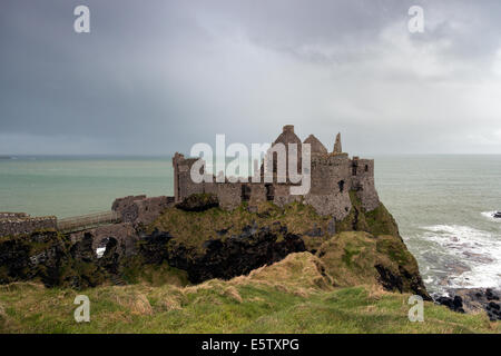 Dunluce castle, a ruined medieval castle in Northern Ireland - Stock Photo