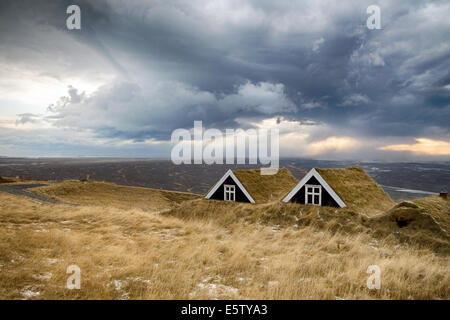 Iceland typical turf houses - Stock Photo