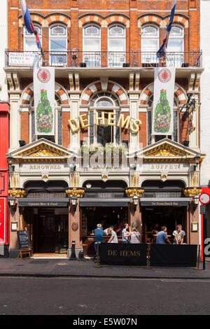De Hems, a Dutch pub and bar in Macclesfield Street, Soho, London - Stock Photo