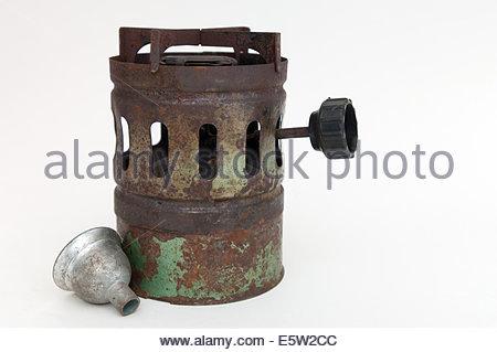 old stove on white background - Stock Photo