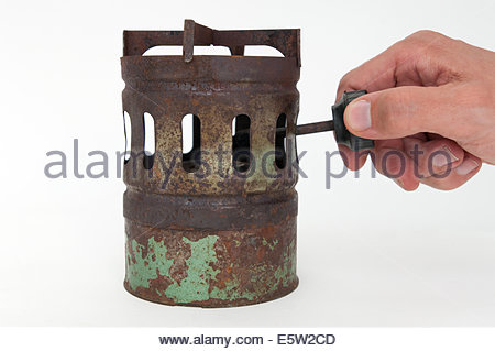 old stove on white background - Stock Photo