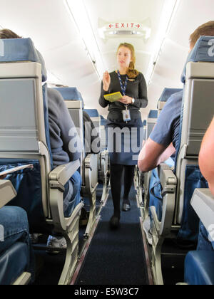 Aboard Commercial Airplane Flight, Delta Airlines, USA - Stock Photo