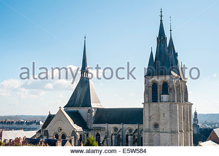 Three spires of Eglise St-Nicolas church, Blois, Loire-et-Cher, Centre, France - Stock Photo