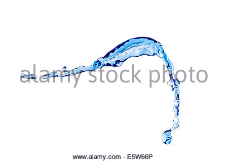 Blue Water Splash on White Background - Stock Photo