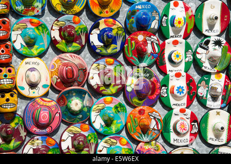 Small china sombreros  tourist stall Chichen Itza Yucatan Mexico - Stock Photo