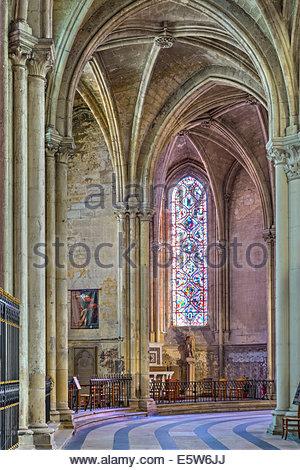 Interior ambulatory of Cathédrale Saint-Gatien cathedral, Tours, Indre-et-Loire, Centre, France - Stock Photo