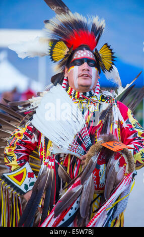 Native American man takes part at the 25th Annual Paiute Tribe Pow Wow in Las Vegas Nevada. - Stock Photo