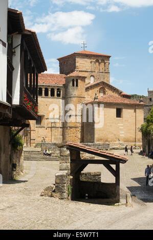 Old wash house near Santa Juliana collegiate church, Santillana del Mar, Cantabria, Northern Spain, Europe - Stock Photo
